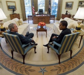 George W. Bush and Barack Obama in the Oval Office