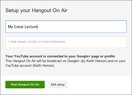 Setup your Hangout On Air
