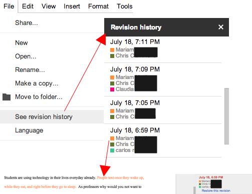Google Docs Revision History