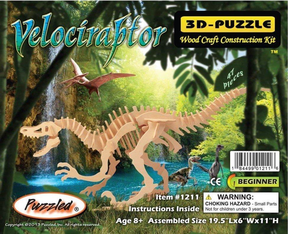 Velociraptor Dinosaur 3D Woodcraft Construction Kit