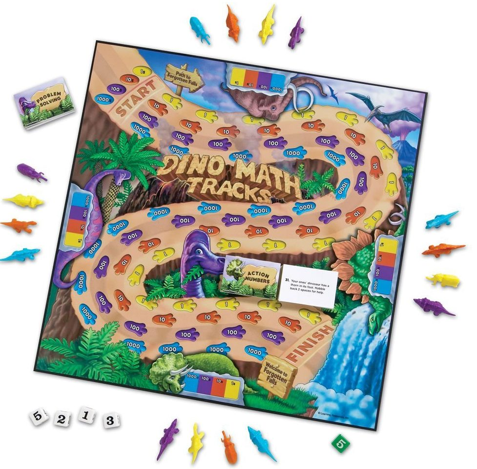 Learning Resources Dino Math Tracks Game- Math Games for Kids