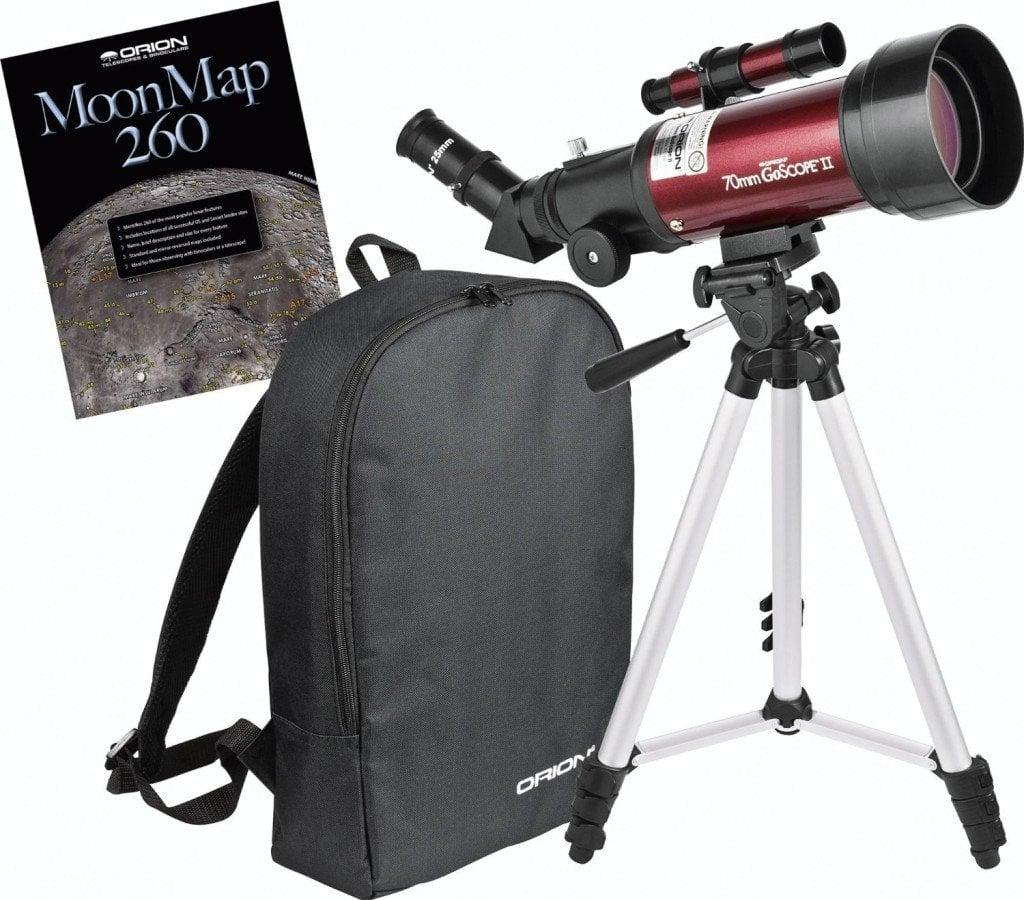 Orion 10034 GoScope II 70mm Refractor Travel Telescope Moon Kit- telescopes for beginners