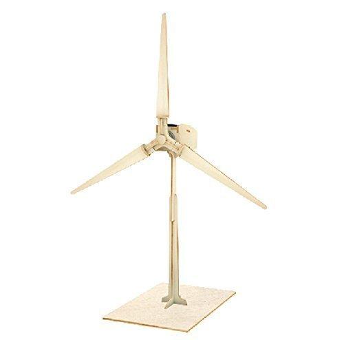 Sunnytech®Solar Power Energy DIY Kits Brick Block Wood Windmill Child Educational 3D Wooden Jigsaw Puzzle Toy- solar powered toys