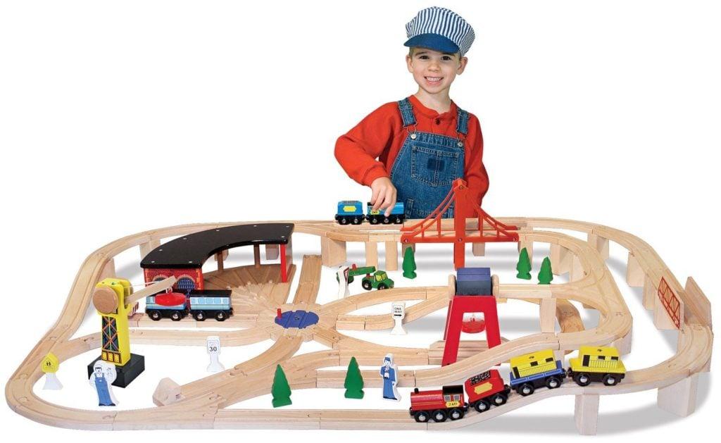 Melissa & Doug Deluxe Wooden Railway Set - train sets for kids