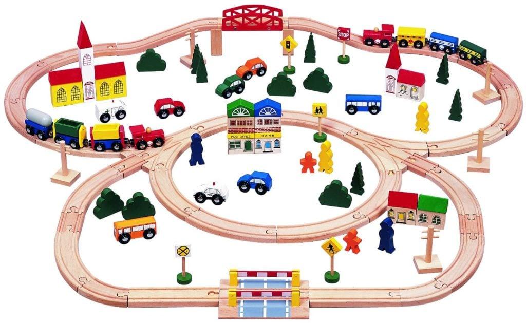100-piece Triple-loop Wooden Train Set - train sets for kids