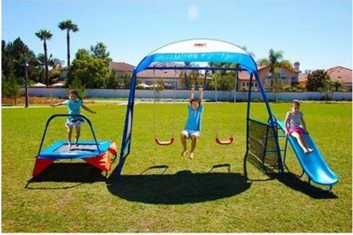 Kids Outdoor Playground Includes Trampoline, Swings and Slide - swing sets