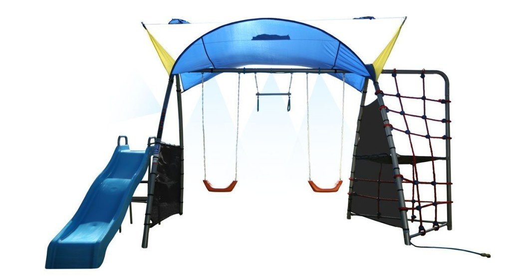 IRONKIDS Challenge 300 Refreshing Mist Swing Set with Rope Climb, Expanded UV Protective Sunshade - swing sets