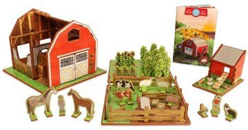 Farm Playset with Barn, Animals, Pasture, Crops, Chicken Coop and Storybook - farm toys