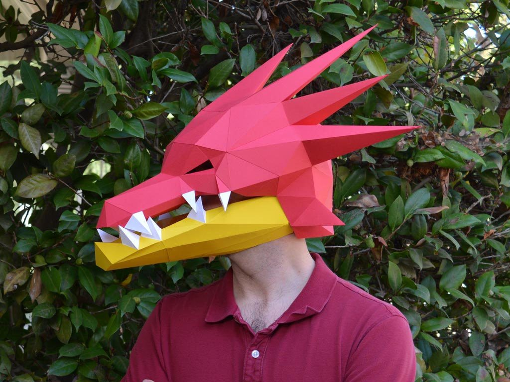 Paper Dragon Mask with Moving Jaw