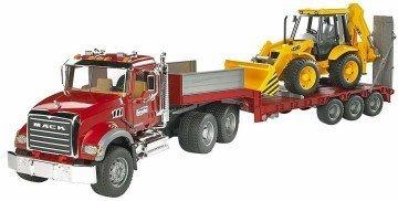 Bruder Mack Granite Flatbed Truck with JCB Loader Backhoe - toy semi trucks