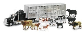 Country Life - Kenworth Livestock Tractor Trailer with 10 Head of Cattle - toy semi trucks