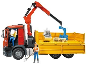 Bruder MB Arocs Construction Truck with Crane and Accessories - toy semi trucks