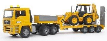 Bruder Toys Man TGA Low Loader Truck With JCB Backhoe Loader - toy semi trucks