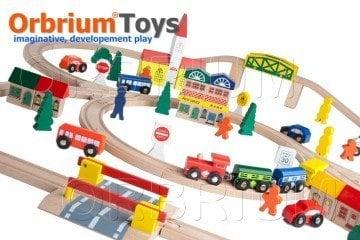 100-Piece Orbrium Toys Triple-Loop Wooden Train Set
