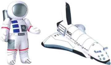 Inflatable Astronaut and Space Shuttle 2-Piece Set by Happy Deals