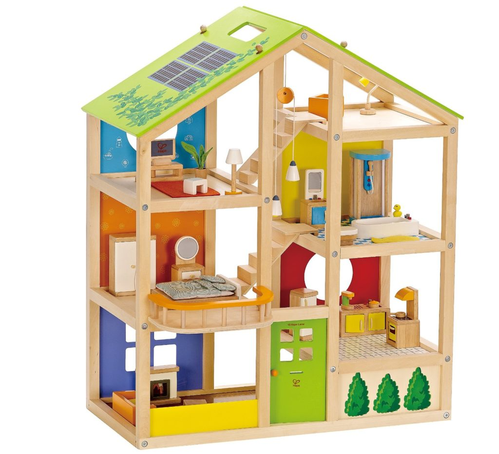 Hape All Seasons Wooden Dollhouse with Furniture