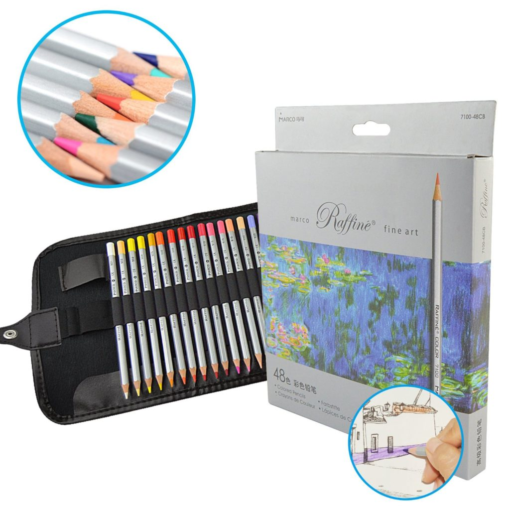 IPOW 48 Assorted Color Marco Raffine Colored Pencils