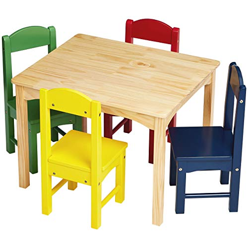 Image of AmazonBasics Kids Wood table and 4 colorful chairs