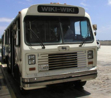 "Bus with ""Wiki-Wiki"" sign"