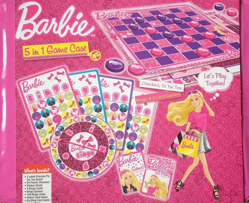 Barbie 5 in 1 Game Case Checkers Tic Tac Toe Bingo Go Fish Old Maid