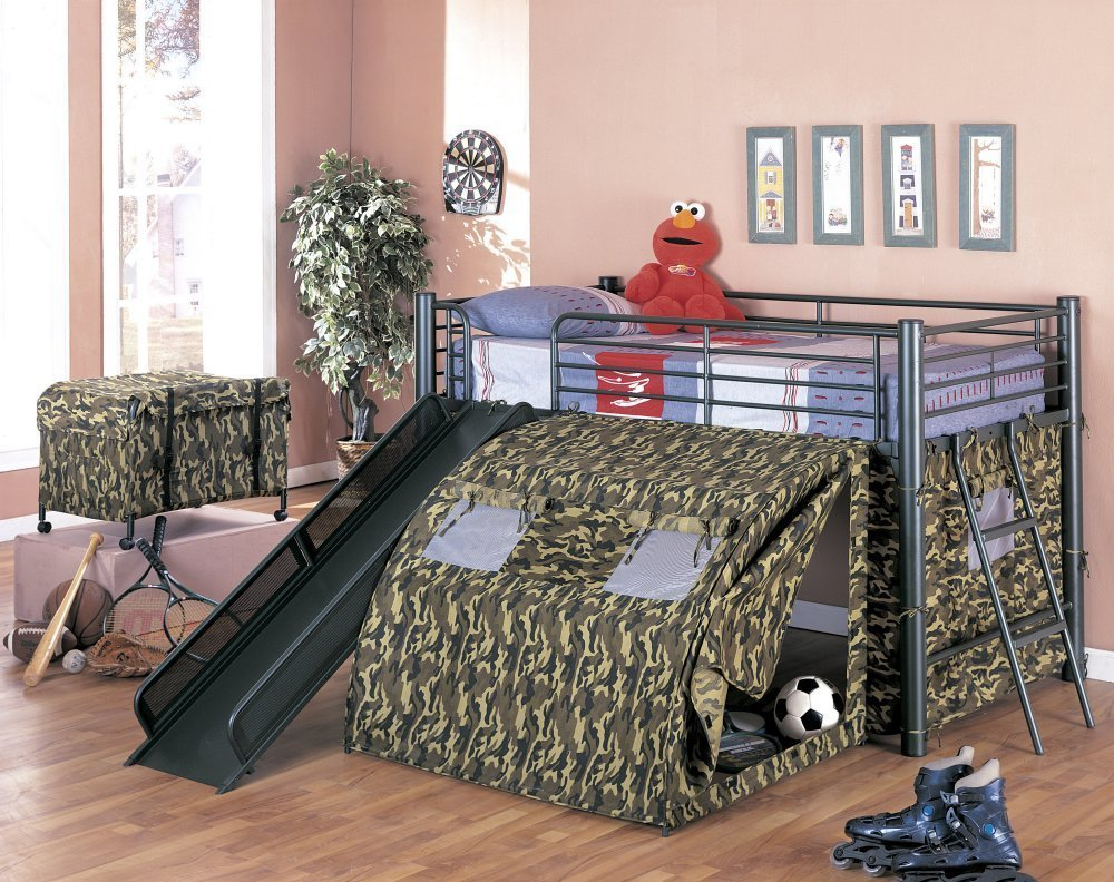 coaster kidu0027s oates lofted bed with slide and tent