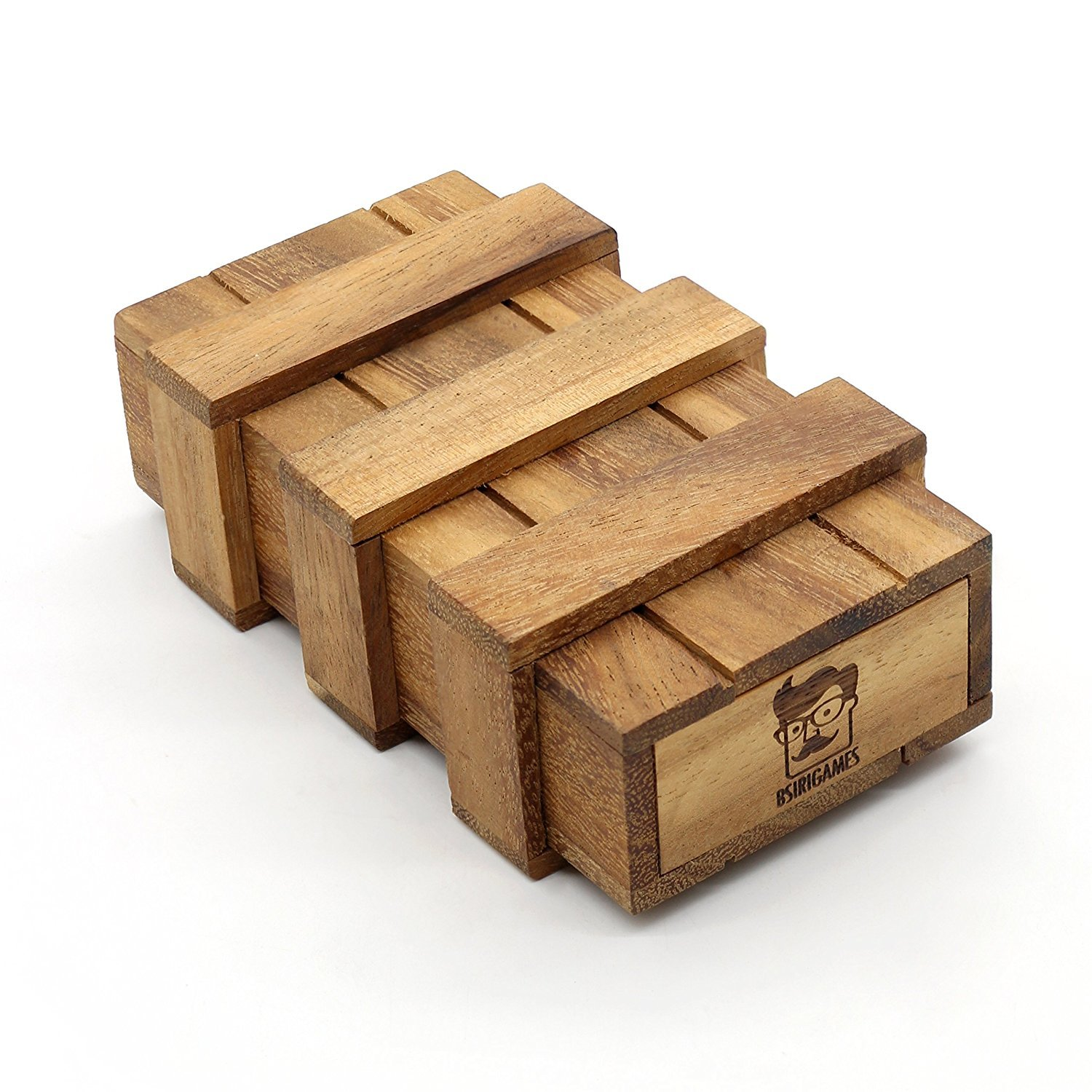 Bits and Pieces Great Puzzling Gift Brainteaser Wooden Bamboo Puzzle Box