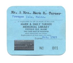 A library card from 1969