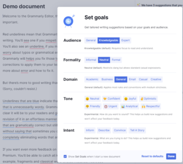 Set Goals For Tailored Suggestions