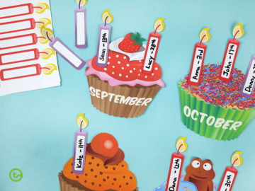 Cupcake Birthday Bulletin Board Chart