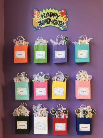 Happy Birthday Gift Parcels Bulletin Board Idea