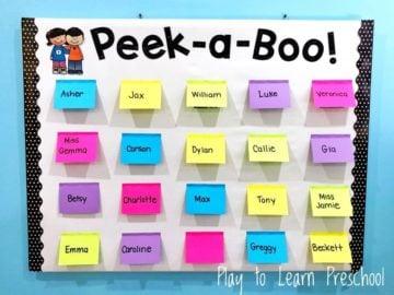 Peek A Boo Preschool Bulletin Board