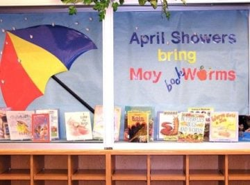 April Showers Bring May Book Worms Bulletin Board