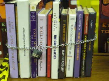 Chained Banned Books Library Bulletin Board