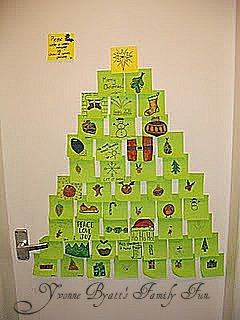 post it note christmas tree door display