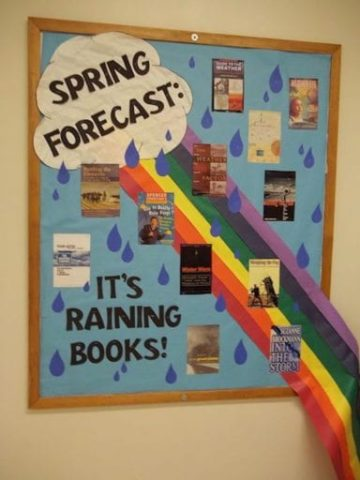 Spring Forecast Its Raining Books Library Bulletin Board