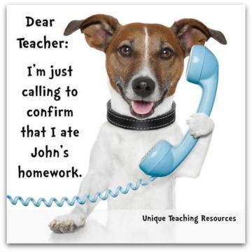 calling to confirm i ate homework dog on phone