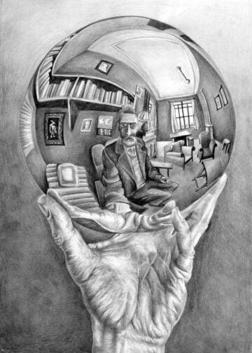 hand with reflecing sphere m c escher