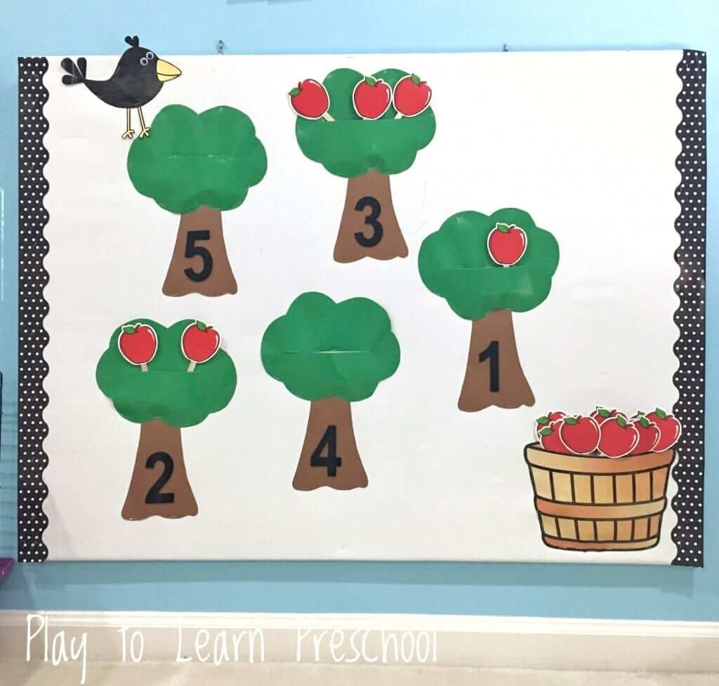 apples counting bulletin board