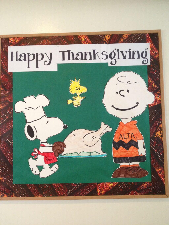 charlie brown thanksgiving bulletin board