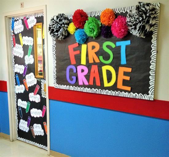 colorufl back to school wall and door display