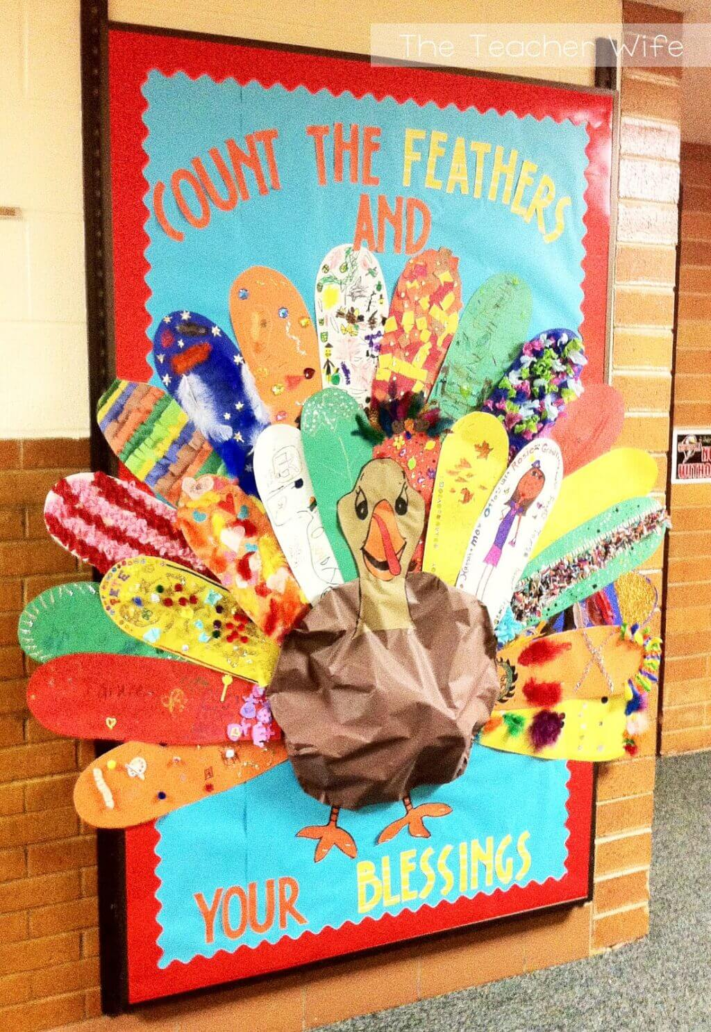 count the feathers and your blessings thanksgiving bulletin board