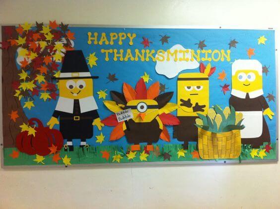 happy thanksminion thanksgiving bulleting board
