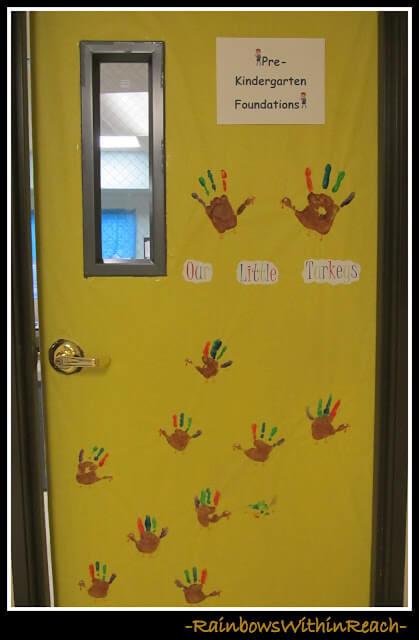 our little turkeys classroom door display