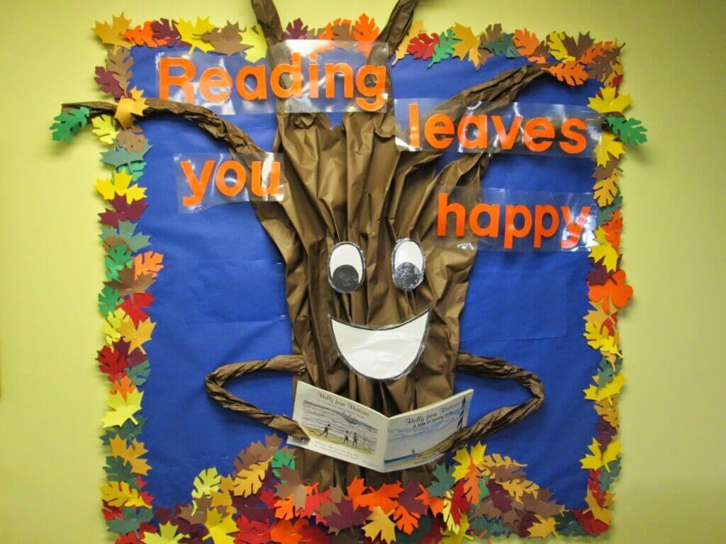 reading leaves you happy library fall bulletin borad