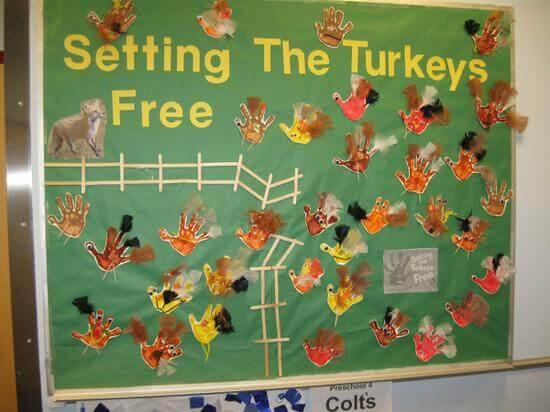 set the turkeys free thanksgiving bulletin board