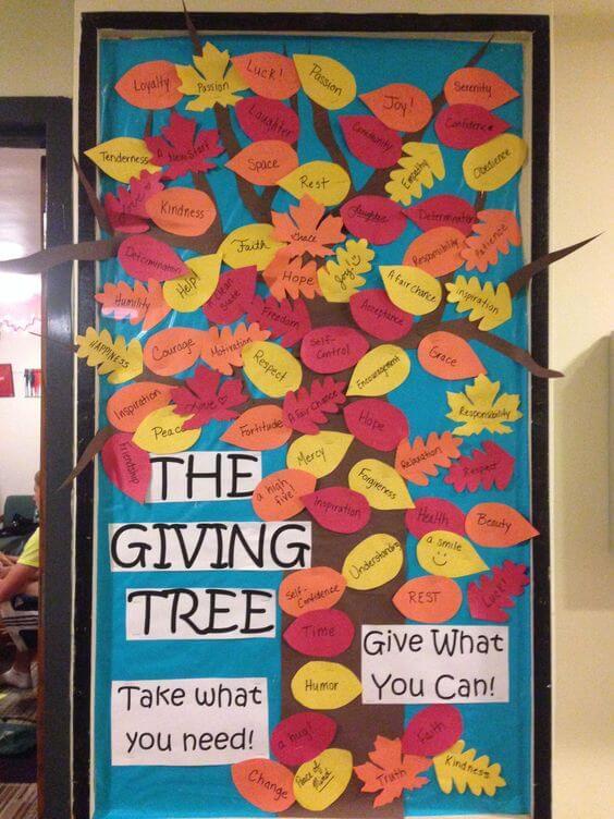 the giving tree door decoration