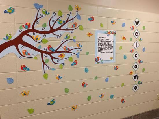bird themed bulletin board back to school