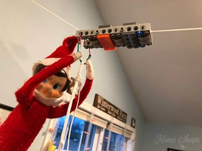 elf on the shelf lego zipline