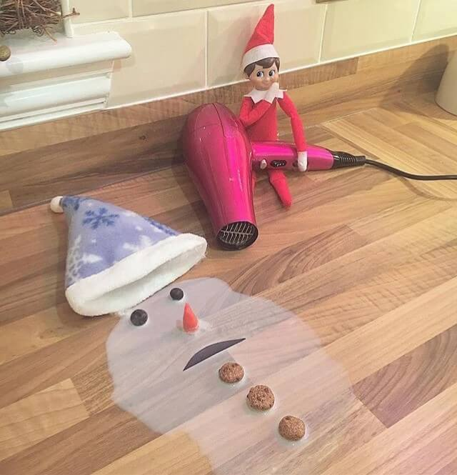 elf on the shelf and melted snowman