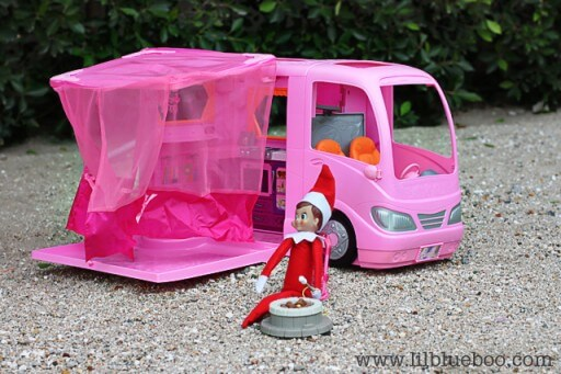 elf on the shelf camping with barbies rv